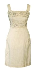 Cream Silk and Lace Dress with Beads and Diamantes circa 1960s