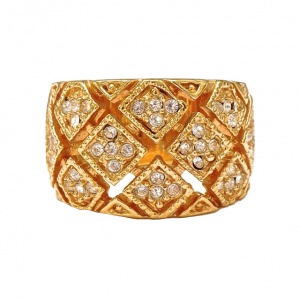 Gold Plated and Diamante Wide Statement Ring circa 1980s
