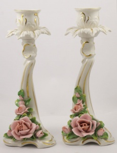 Alka Kunst Pair of Porcelain Rose Candlesticks circa 1950s