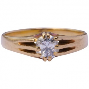 Antique Victorian 18ct Gold Diamond Solitaire Ring