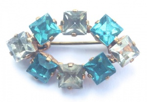 Art Deco Blue and Clear Glass Brooch