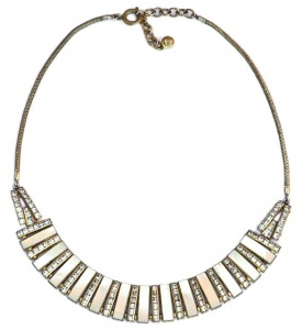 Art Deco Mother of Pearl and Diamante Necklace by DoSo