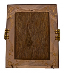1930s Large Art Deco French Peach Mirrored Picture Frame