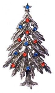 Vintage ART Blue and Red Diamante Christmas Tree Brooch