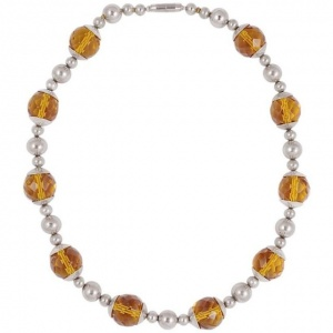 Art Deco Chrome and Amber Glass Bead Necklace circa 1930s