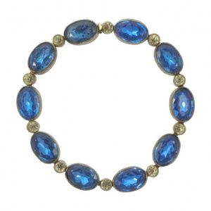Art Deco Czech Silver Plated Blue and Clear Rhinestone Bracelet