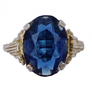 Art Deco Silver Plated Ring with an Oval Blue Glass Stone