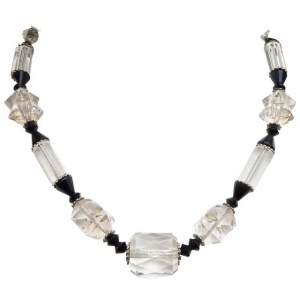 Art Deco Silver Tone, Black and Clear Glass Bead Necklace