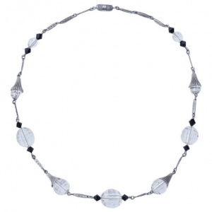 Art Deco Silver Tone Necklace Faceted Clear and Black Beads