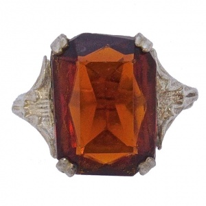 Art Deco Silver Tone Ring with a Burnt Orange Glass Stone
