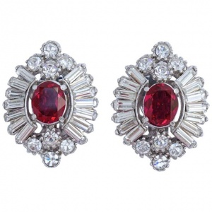 Attwood & Sawyer Silver Tone and Ruby Red Diamante Earrings