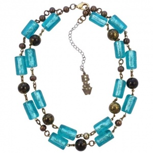 Butler & Wilson Vintage Gold Tone Aqua Blue Glass Necklace
