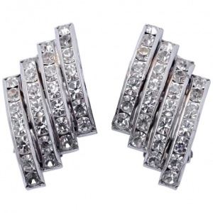 Butler and Wilson Silver Tone and Diamante Clip On Earrings