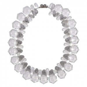 Clear and Grey Plastic Bead Necklace Silver Tone Grey Clasp