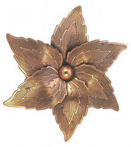 Mid Century Large Copper Polished Flower Brooch