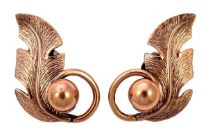 Copper Bell Mid Century Polished Leaf Clip On Earrings