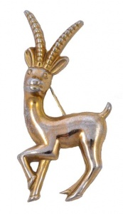 Coro Vintage Gold Plated Gazelle Brooch