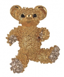 D'Orlan Gold Plated Diamante Bear Brooch circa 1980s