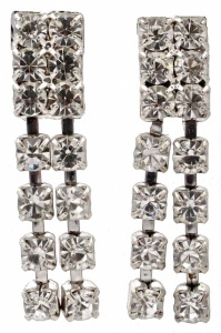 Silver Tone Diamante Drop Clip On Earrings circa 1960s