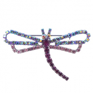 Vintage Dragonfly Brooch with Aurora Borealis and Pink Diamantes