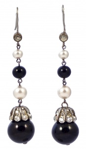 Black Glass Faux Pearl Diamante Drop Earrings circa 1930s