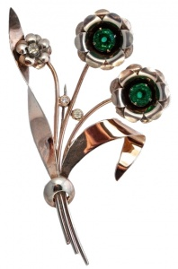 Bond Boyd Sterling Green and Clear Diamante Statement Brooch