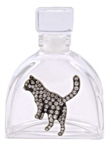 Pierre Bex Art Deco style Silver Plated Crystal Cat Perfume Bottle