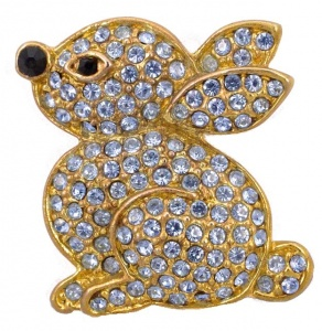 Vintage Gold Plated and Lilac Diamante Rabbit Brooch