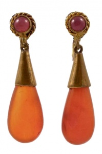 Czech Art Deco Gold Tone Carnelian Drop Earrings