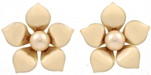 Cream Enamel and Pearl Flower Earrings circa 1980s