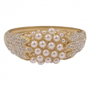 Gold Plated White Faux Pearl and Diamante Bangle circa 1980s
