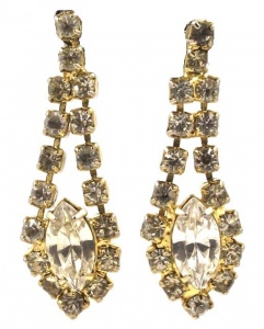 Gold Tone Diamante Marquise Drop Earrings circa 1960s