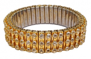 Gold Plated and Clear Diamante Expansion Bracelet circa 1950s