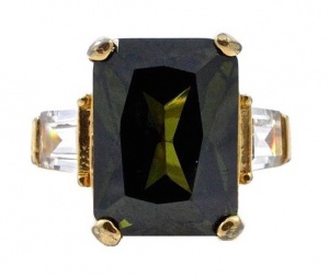 Gold Plated and Olive Green Glass Statement Ring circa 1980s