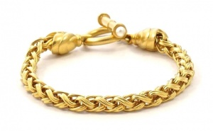 Gold Plated Wheat Chain Bracelet with Toggle Clasp circa 1980s