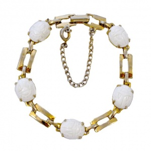 Gold Plated Milk Glass Scarab Link Bracelet circa 1950s