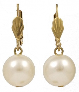 Gold Tone and Cream Faux Pearl Ball Drop Leverback Earrings