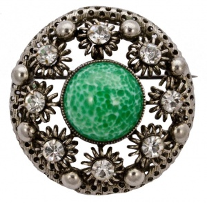 Vintage Silver Tone Green Glass and Clear Diamantes Brooch