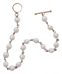 Rose Gold Plated and Freshwater Pearl Chain Link Bracelet