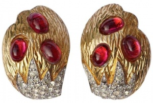 1950s Jomaz Gold Plated Red Cabochon Rhinestone Earrings