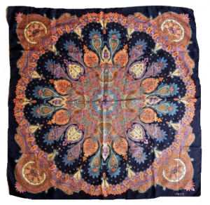 Lancetti Multi Colour Paisley and Navy Blue Background Silk Scarf
