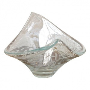 Italian Hand Made Clear and White Art Glass Bowl circa 1960s