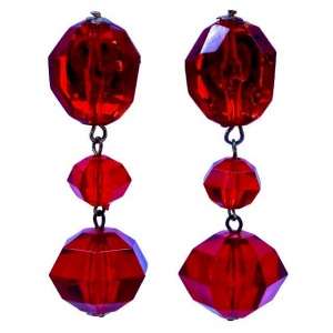 Long Ruby Red Faceted Plastic Drop Clip On Earrings 1970s