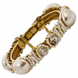 Miriam Haskell Baroque Pearl Bracelet with Beads Diamantes
