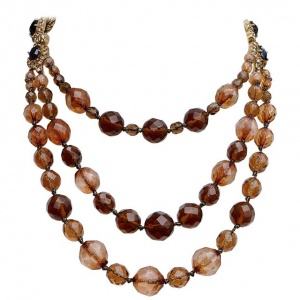Monet Gold Plated Triple Strand Brown Glass Bead Necklace