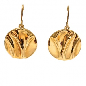 Monet Gold Plated Round Shiny Drop Earrings circa 1980s
