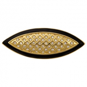 Monet Gold Tone Black Enamel Diamante Brooch circa 1980s