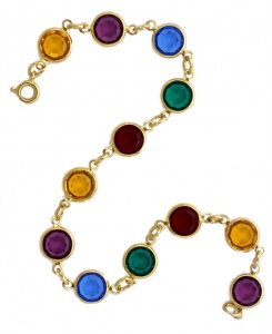 Gold Tone and Bezel Set Open Back Multi Coloured Link Bracelet