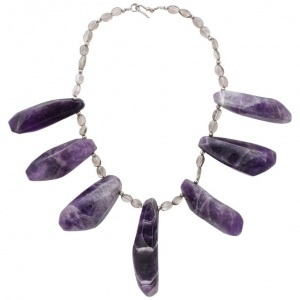 Natural Amethyst and Silver Necklace with Clear Glass Stones