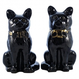 Victorian Staffordshire Jackfield Black Pottery Cat Figurines